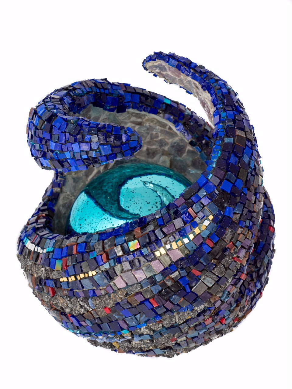 """Embrace"" 8"" by Dianne Sonnenberg - sculptural mosaic.  Smalti, granite, semiprecious stone, 24K gold, and an illuminated glass sphere create this very personal piece exploring the preciousness and fragility of an embrace."