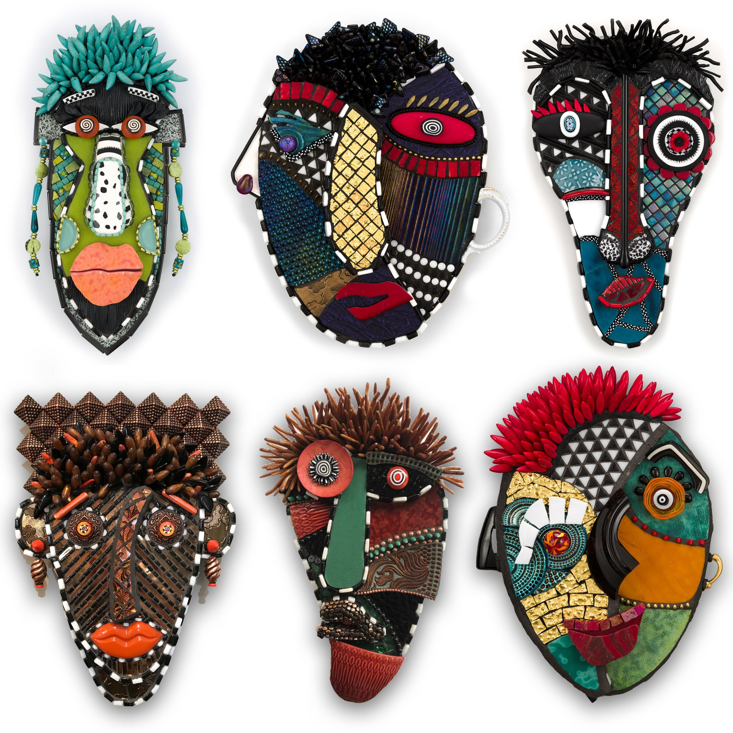 Mixed Media Mosaic Masks by Joan Schwartz