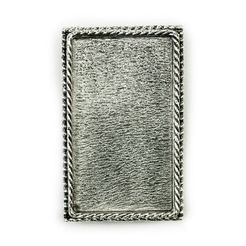 Ornate Brooch Rectangle  - Antique Silver