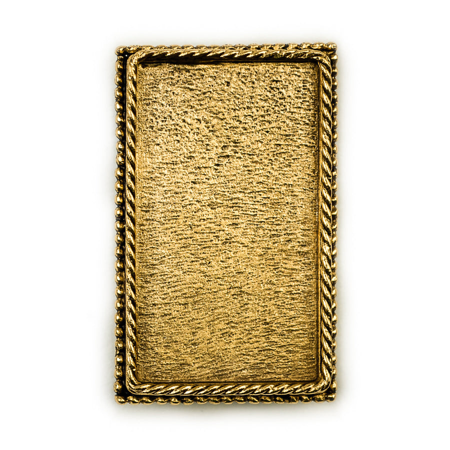Ornate Brooch Rectangle  - Antique Gold