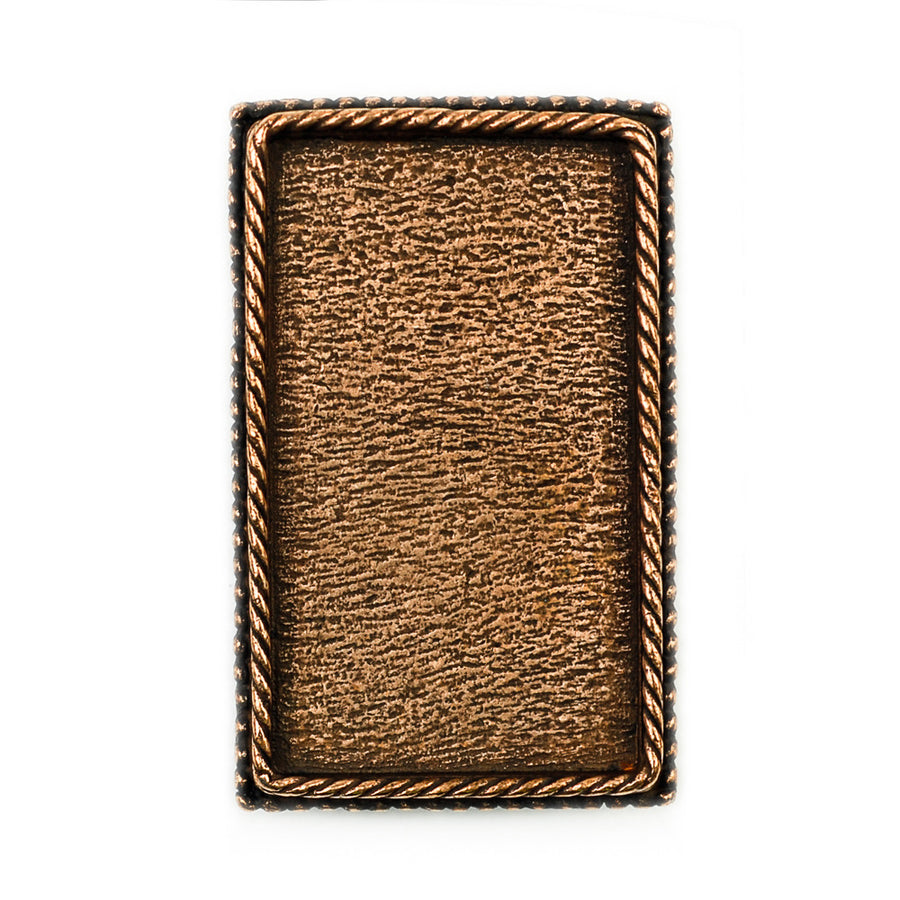 Ornate Brooch Rectangle  - Antique Copper