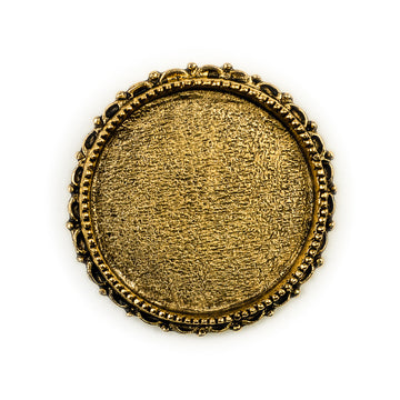 Ornate Brooch Circle  - Antique Gold