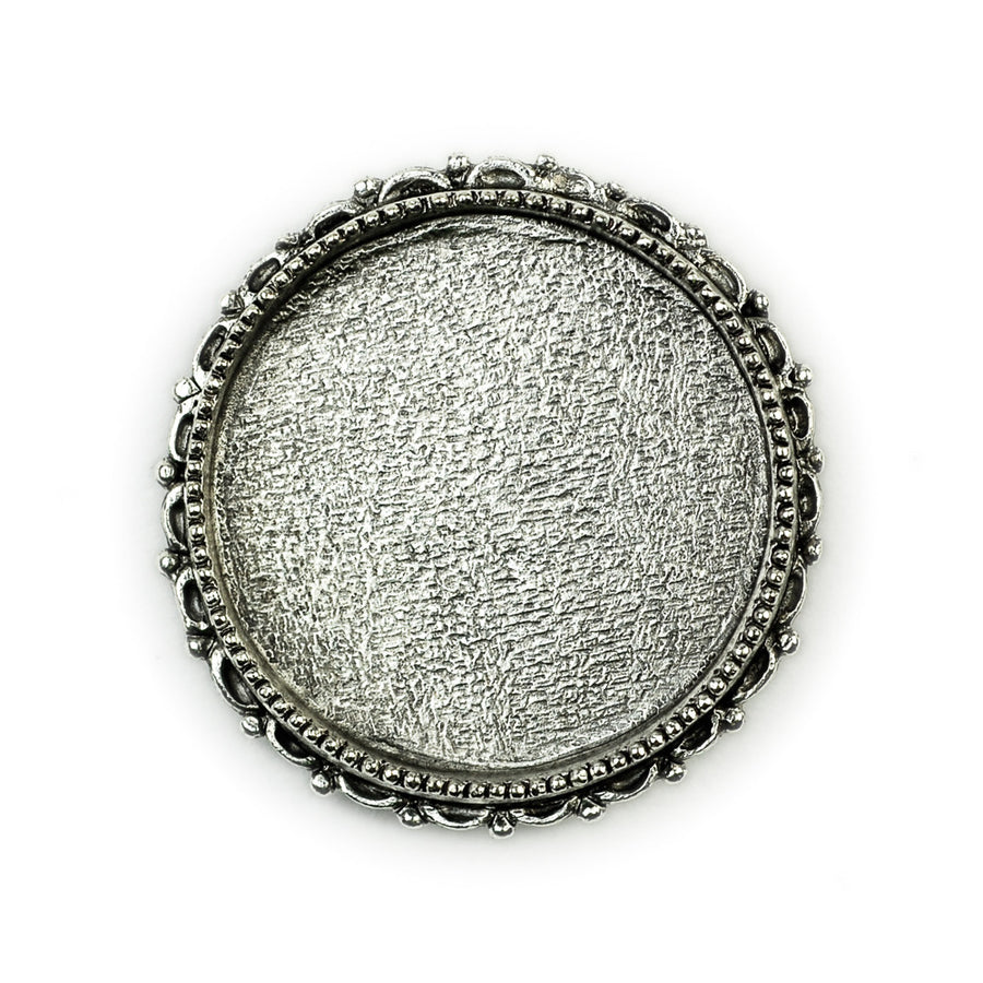 Ornate  Brooch Circle  - Antique Silver