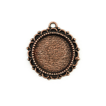 Ornate Pendant Circle - Antique Copper