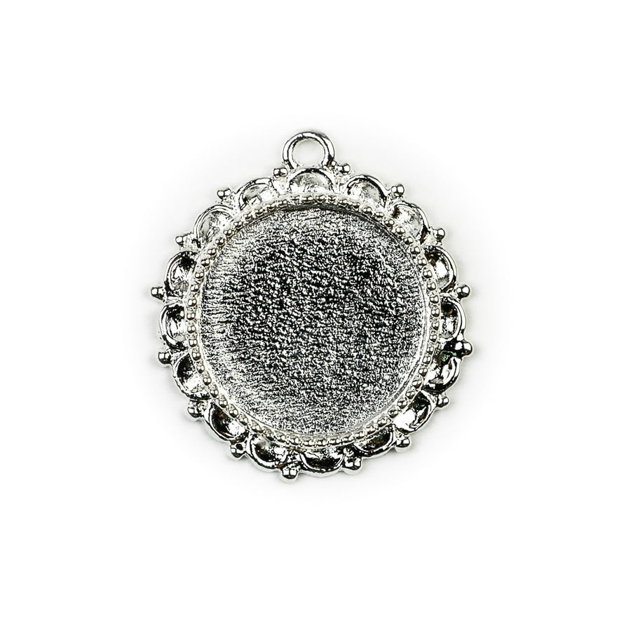 Ornate Pendant Circle - Sterling Silver