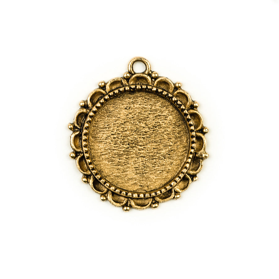 Ornate Pendant Circle - Antique Gold