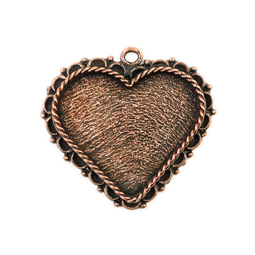 Ornate Pendant Heart - Antique Copper