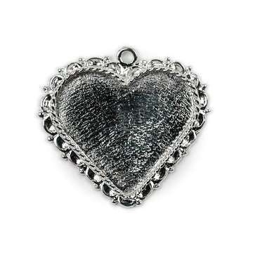 Ornate Pendant Heart - Sterling Silver