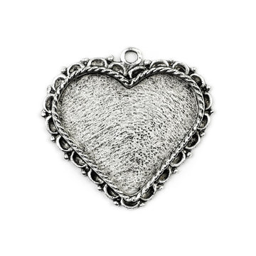 Ornate  Pendant Heart - Antique Silver