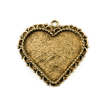 Ornate Pendant Heart - Antique Gold