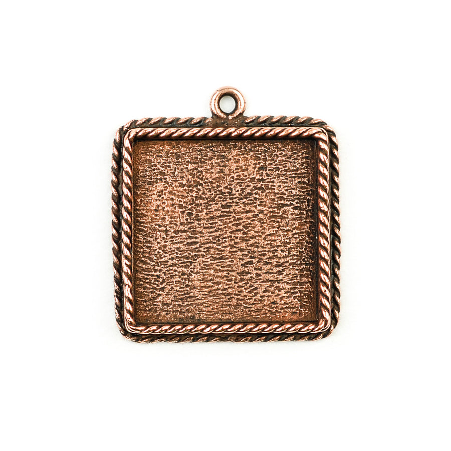 Ornate Pendant Square - Antique Copper