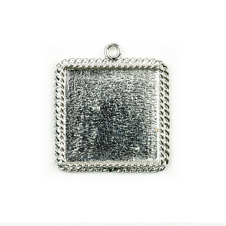 Ornate Pendant Square - Sterling Silver