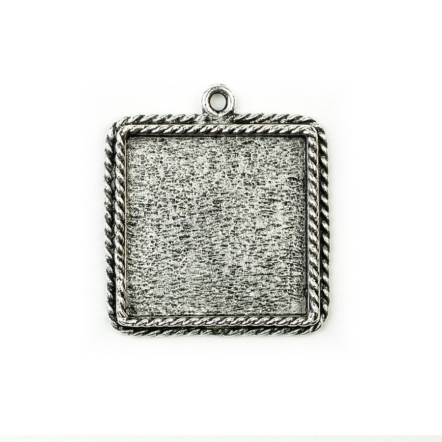 Ornate Pendant Square - Antique Silver