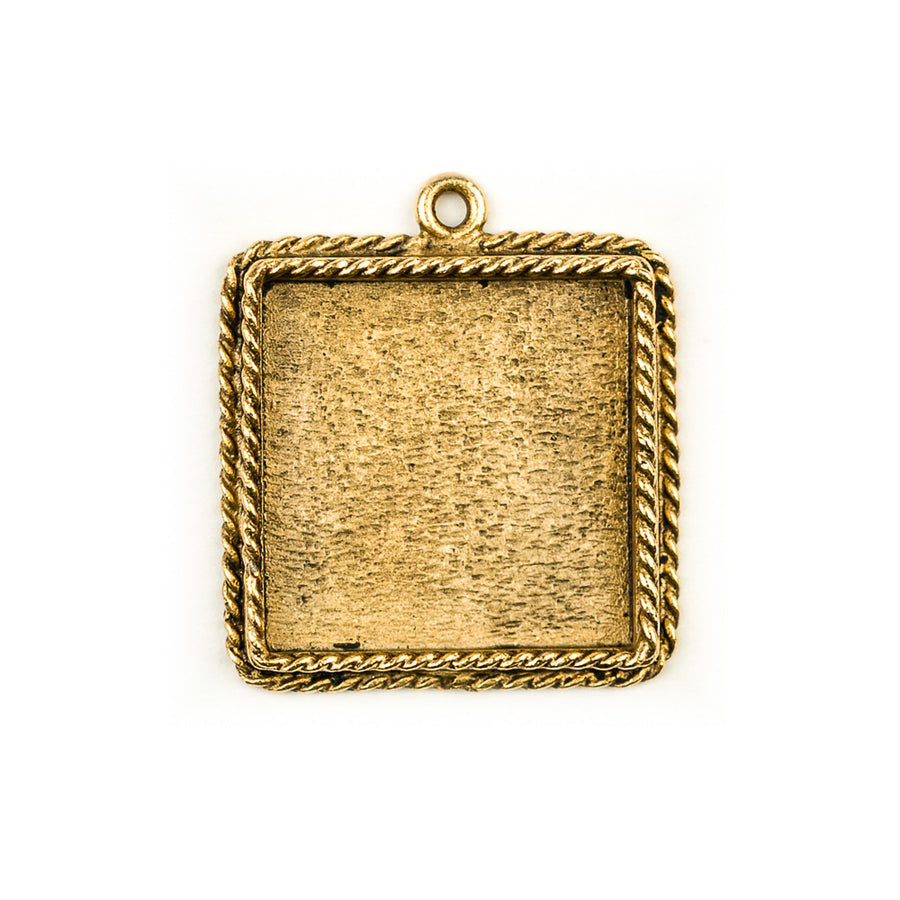 Ornate Pendant Square - Antique Gold