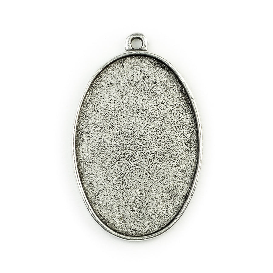 Pendant Oval  - Antique Silver