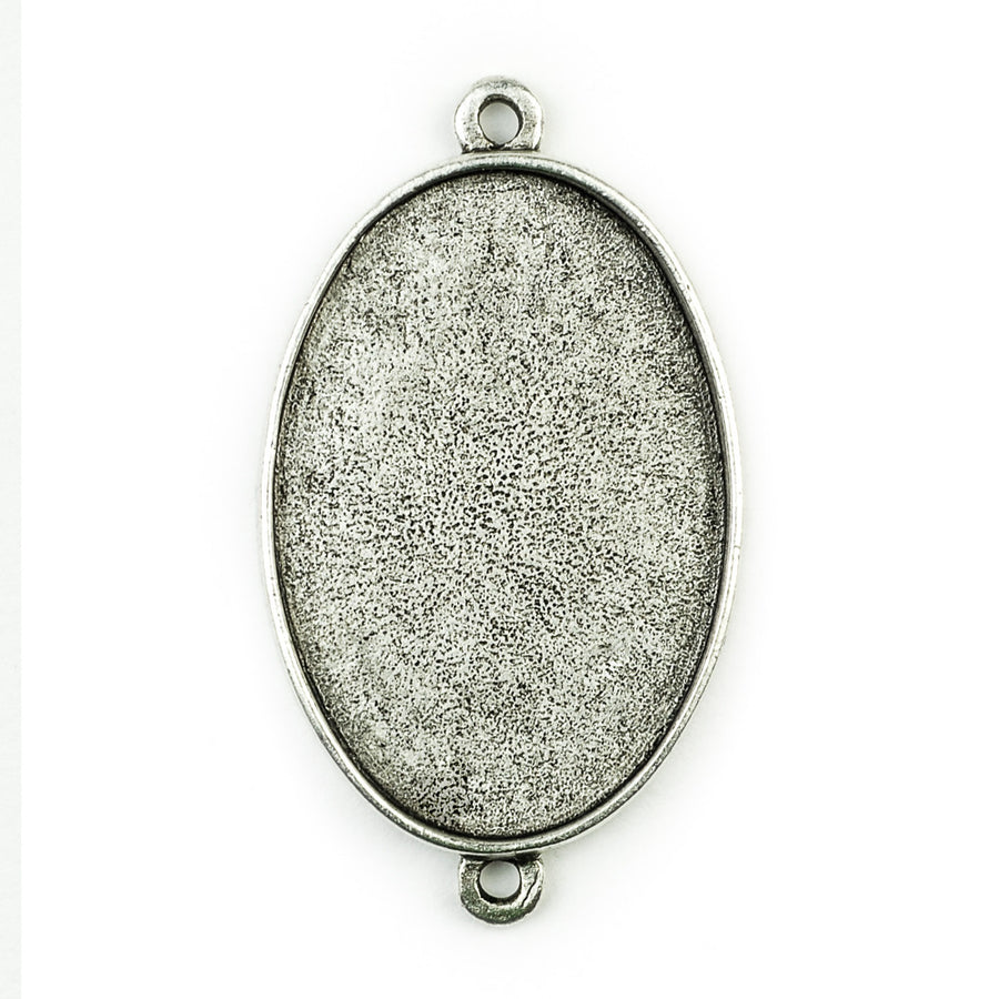 Pendant Oval Double Loop  - Antique Silver
