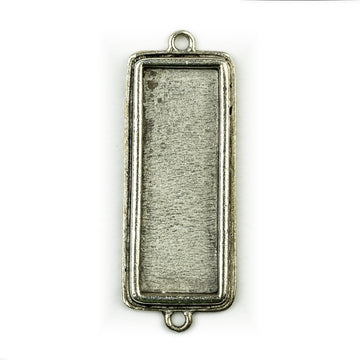 Pendant Rectangle Double Loop - Antique Silver