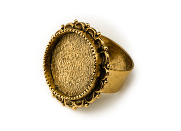 Ring Adjustable Ornate Circle  - Antique Gold