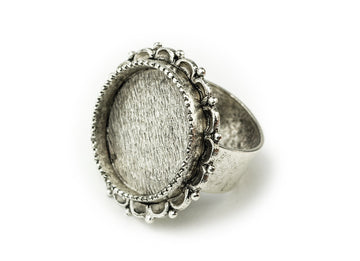 Ring Adjustable Ornate Circle  - Antique Silver