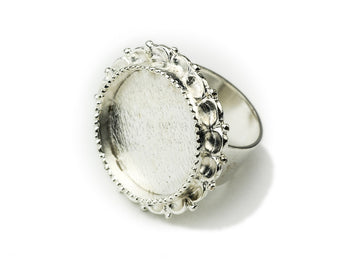 Ring Adjustable Ornate Circle  - Sterling Silver