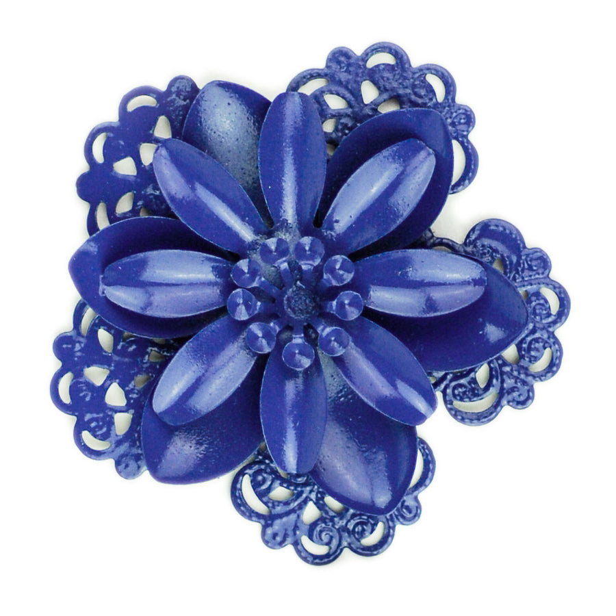 Hummingbird Florals - Style #3 - Deep Sea Blue Lg. Flower