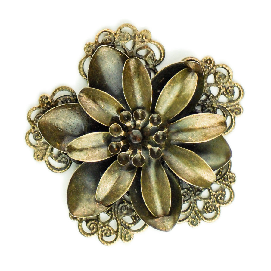 Hummingbird Florals - Style #3 - Brunished Bronze Lg. Flower