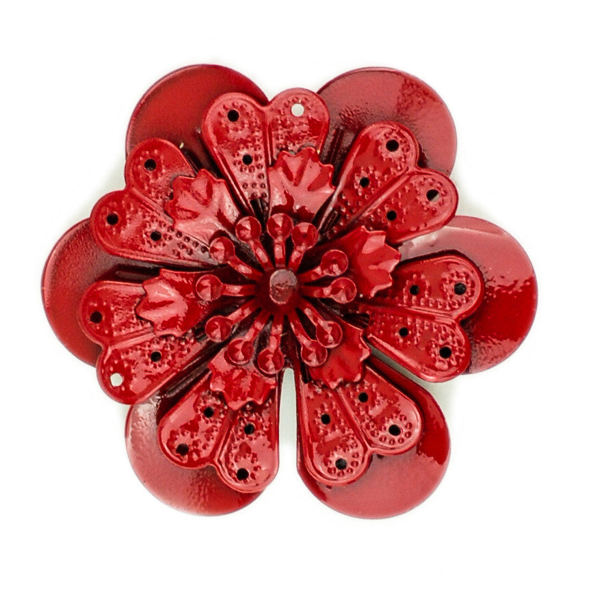 Hummingbird Florals - Style #4 - Crimson Red Lg. Flower