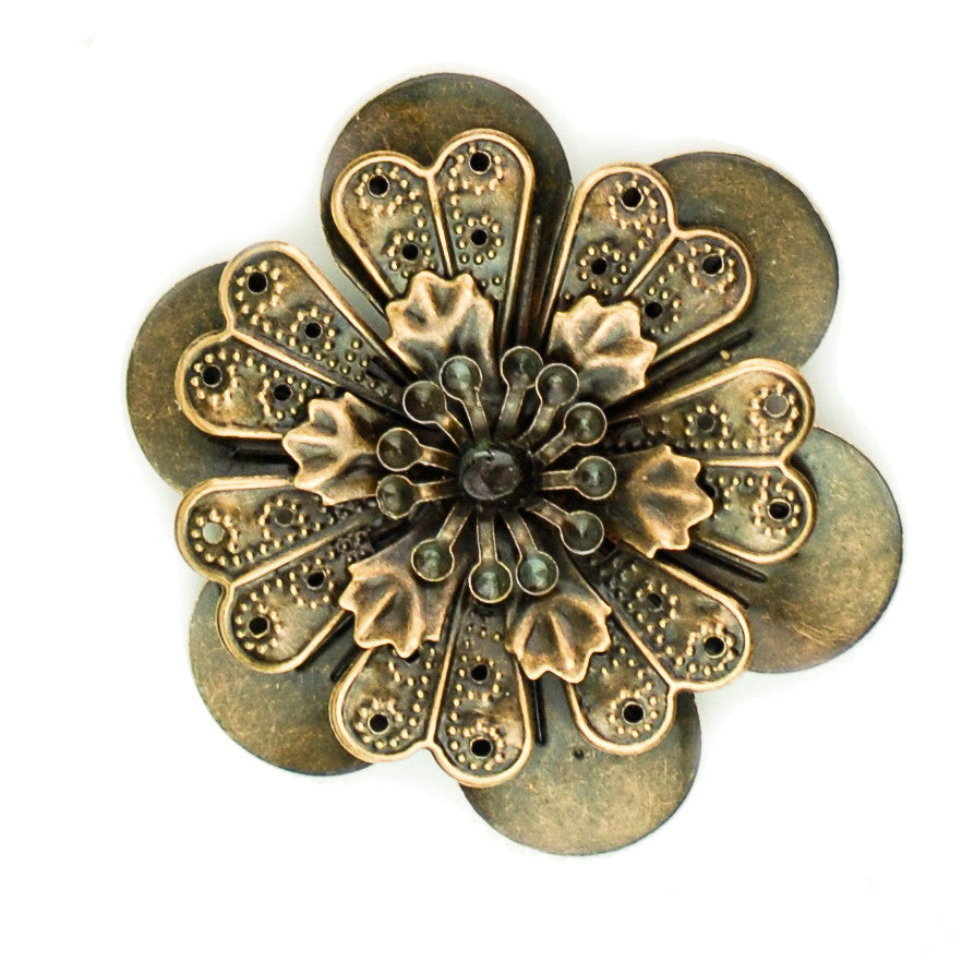 Hummingbird Florals - Style #4 - Brunished Bronze Lg. Flower