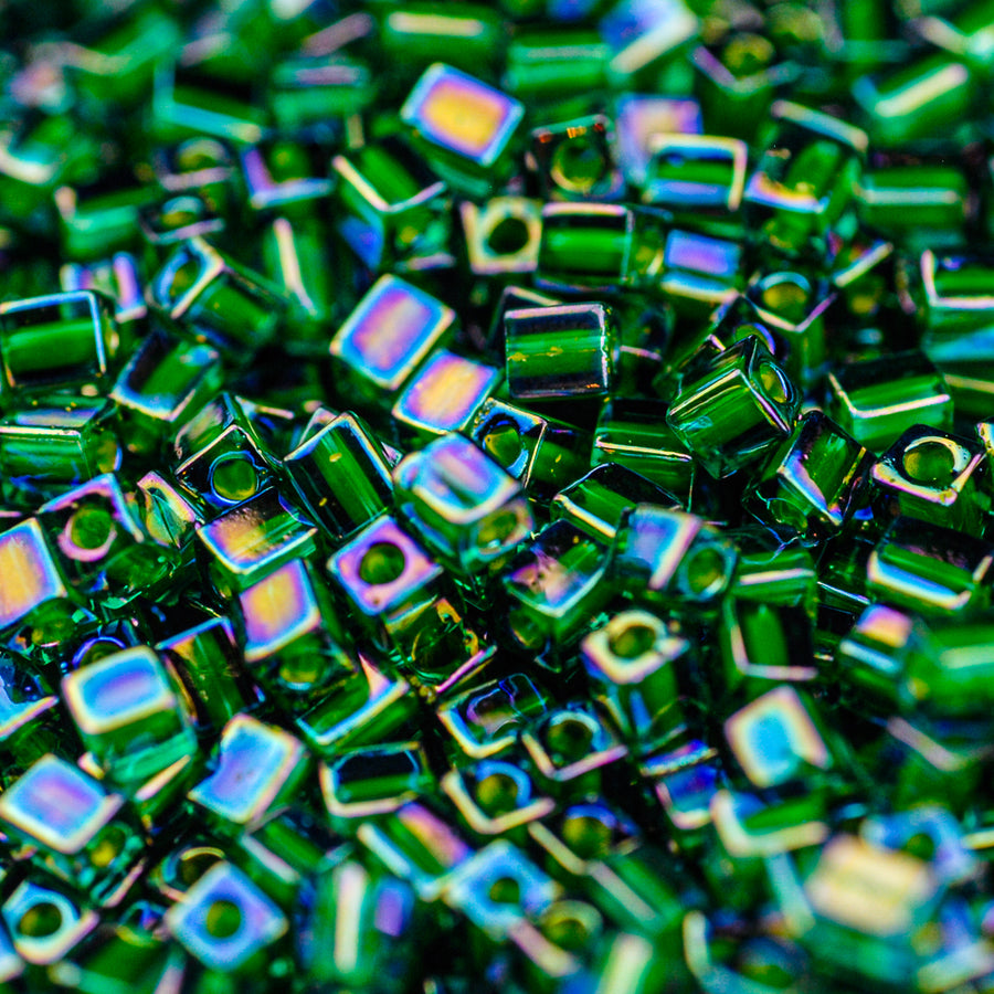 Chartreuse Lined Green AB Miyuki Cube Bead