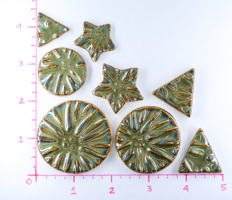 Army Green Sea Urchins - Handmade Ceramic tiles