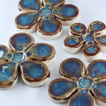 Flowers Blue Violet Glaze - Handmade Ceramic tiles
