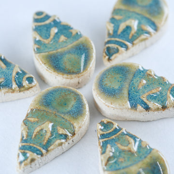 Aqua and Green 25mm Tear Drop - Handmade Ceramic tiles