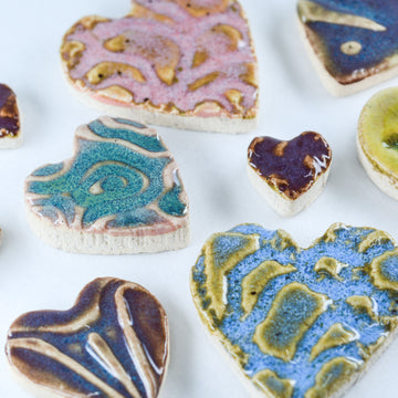 Heart Shapes - Handmade Ceramic tiles