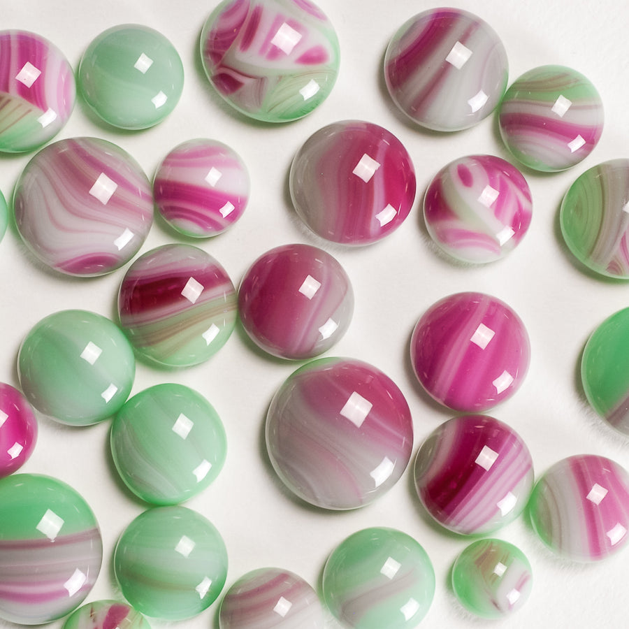 Frit Balls - Mint Green and Pink Baroque