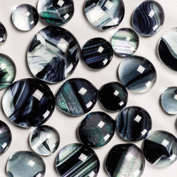 Frit Balls - Black & Clear Iridescent Baroque