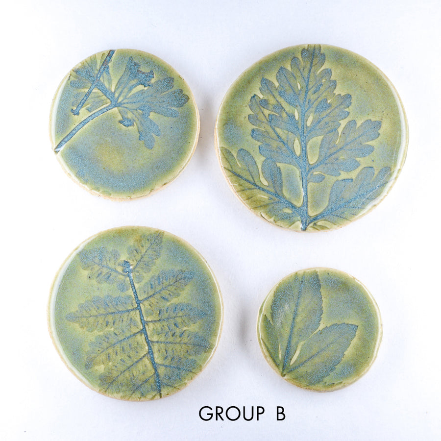 Green Blue Leaf Imprints 4pcs - Handmade Ceramic tiles