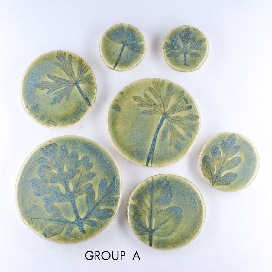 Green Blue Leaf Imprints 7pcs - Handmade Ceramic tiles