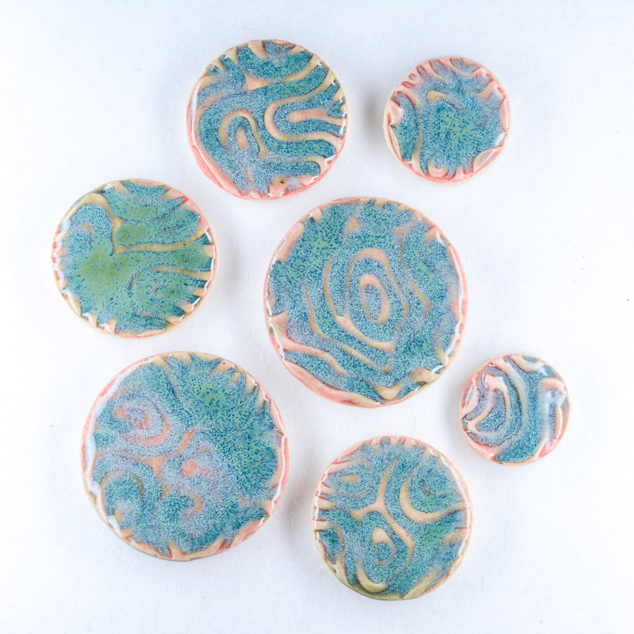 Aqua Blue and Pink Glaze  - Handmade Ceramic tiles