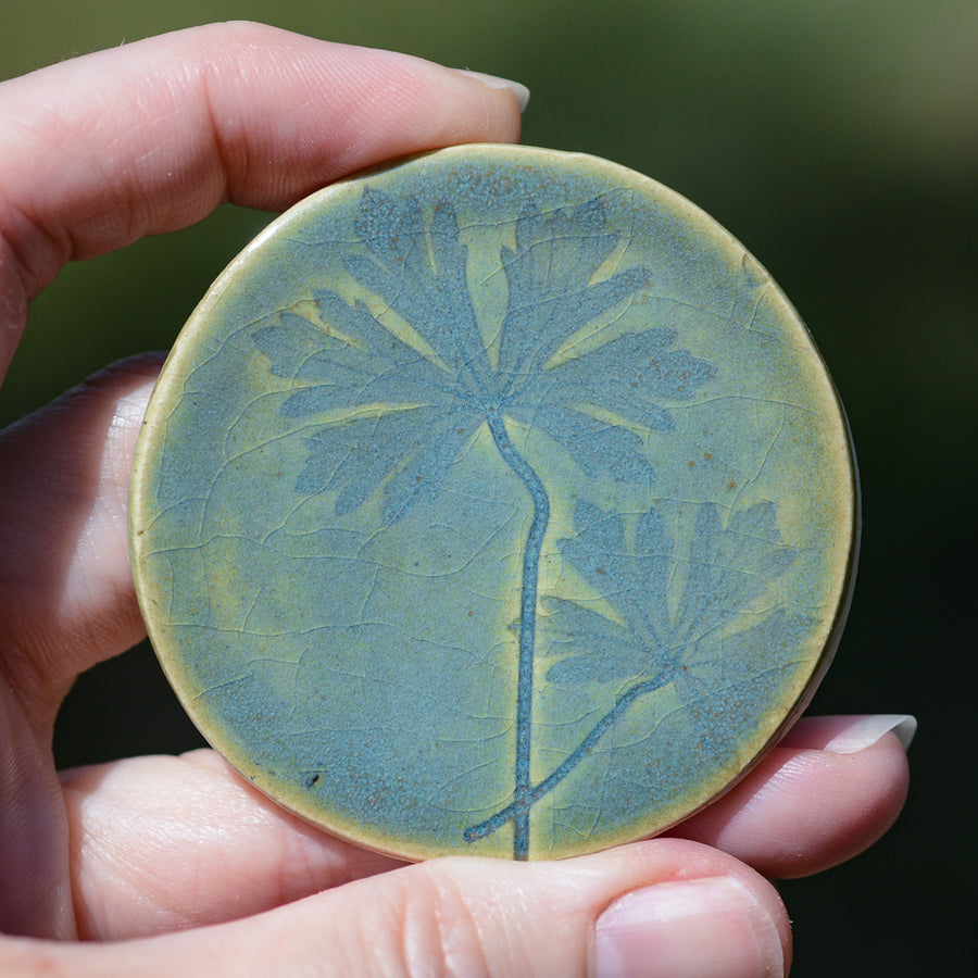 Blue Green Leaf Imprint Tile - Handmade Ceramic tiles
