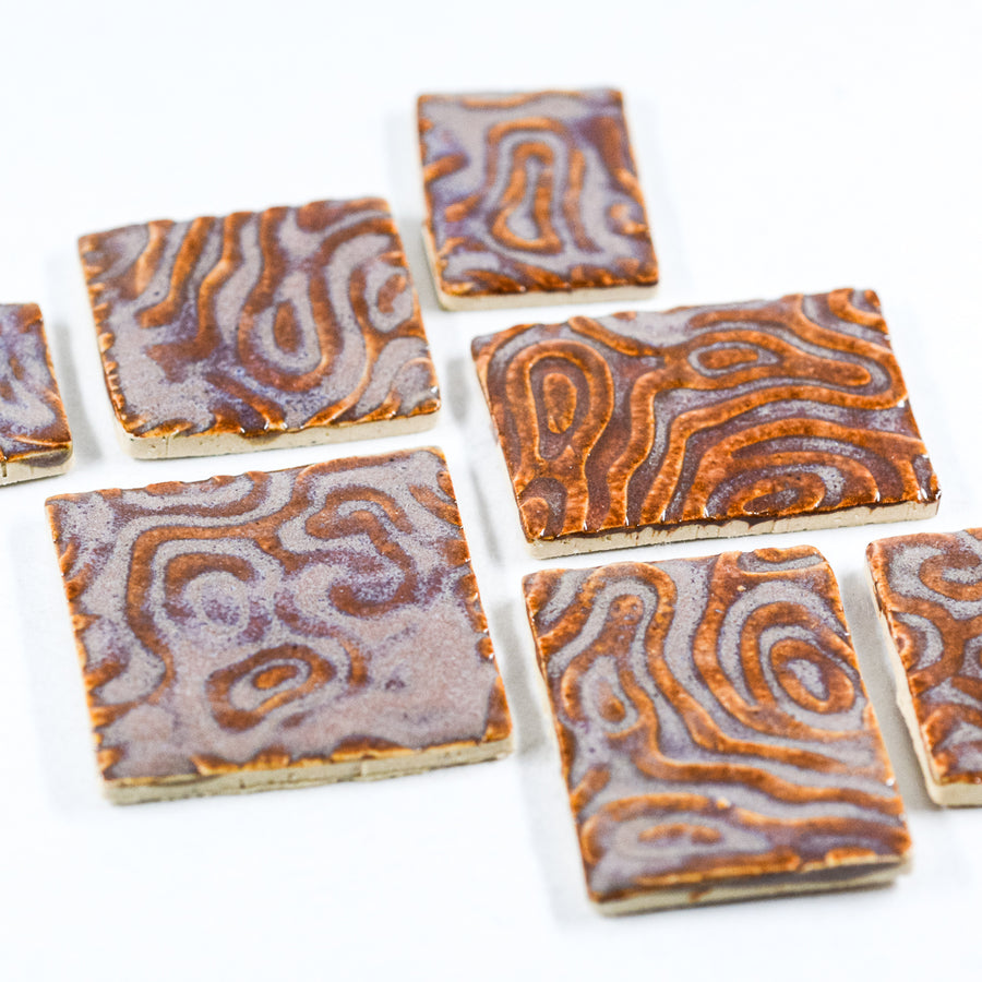 Lavender and Brown - Handmade Ceramic tiles