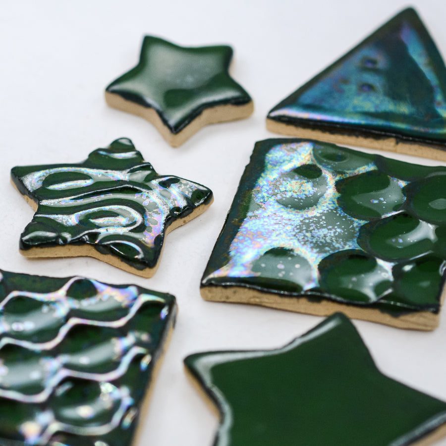 Green Iridescent Glaze  - Handmade Ceramic tiles