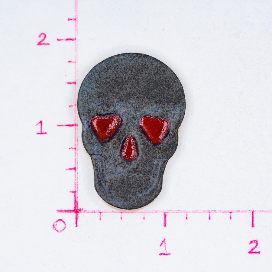 Skulls Matte Grey with Red Eyes - Handmade Ceramic tiles