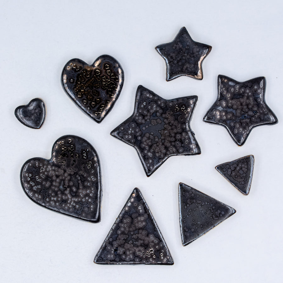 Pewter with Glittering Gold - Handmade Ceramic tiles