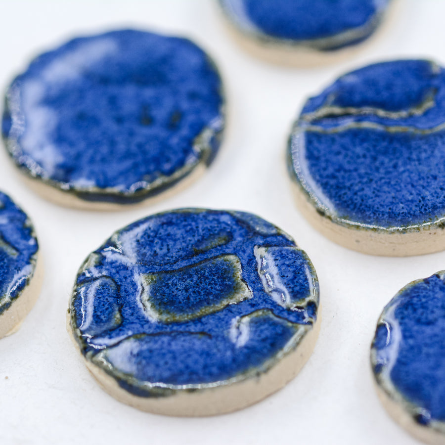 Cobalt Blue Circles - Handmade Ceramic tiles
