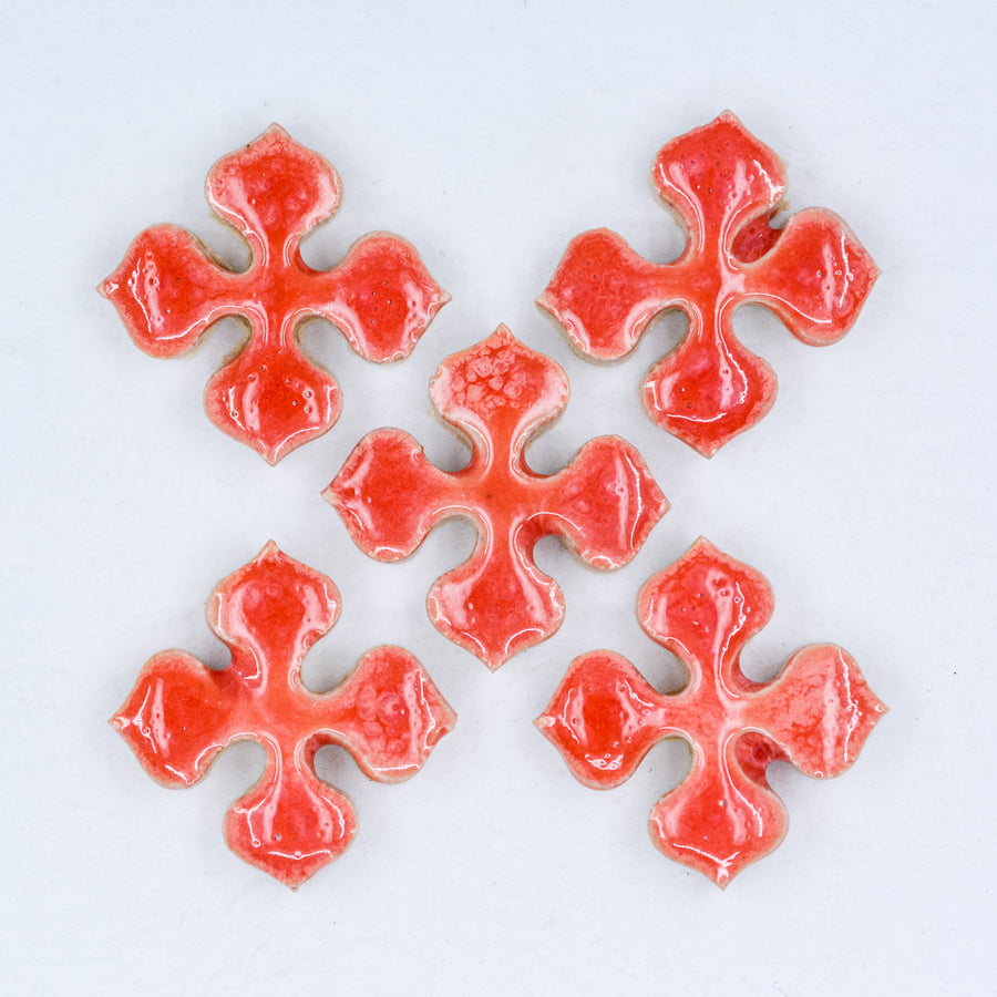 Bright Coral 20mm Flower Motif - Handmade Ceramic tiles