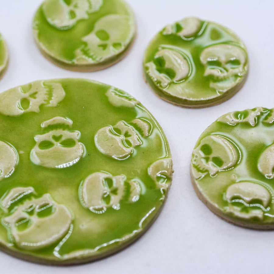Skulls in Lime Green Glaze - Handmade Ceramic tiles