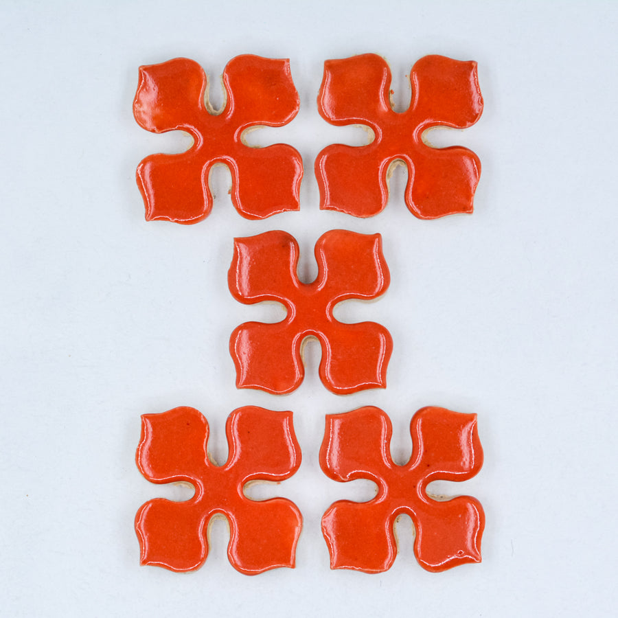 25mm Orange Pinwheel - Handmade Ceramic tiles
