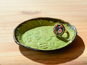 Lime Green Skull Trinket Dish