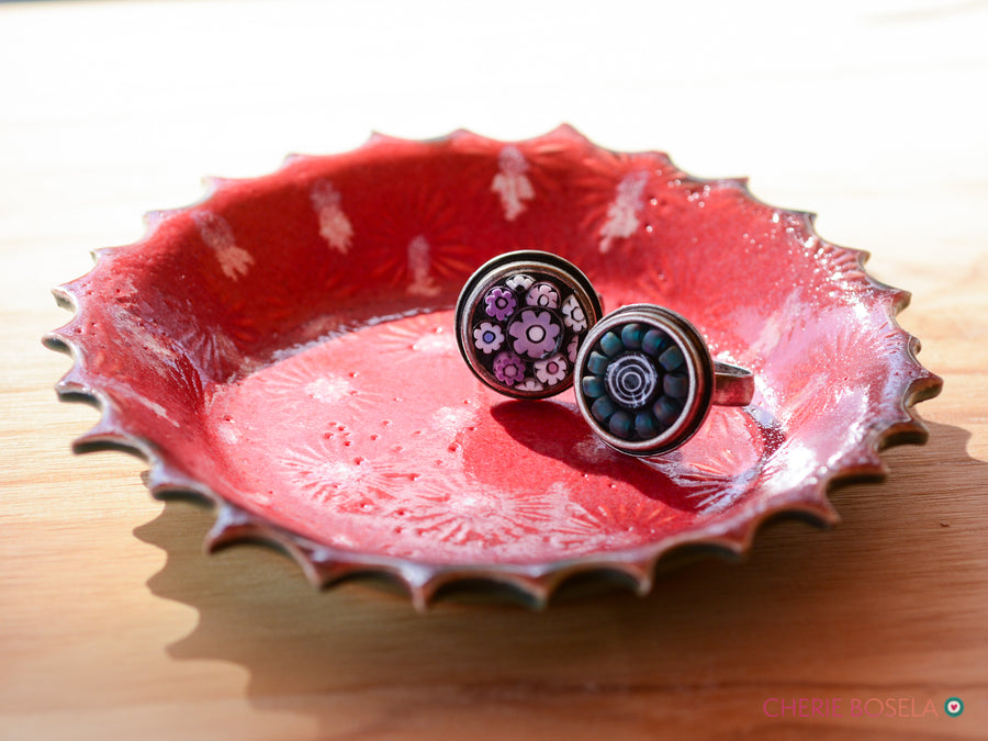 Flower Trinket Dish with Scalloped Edge