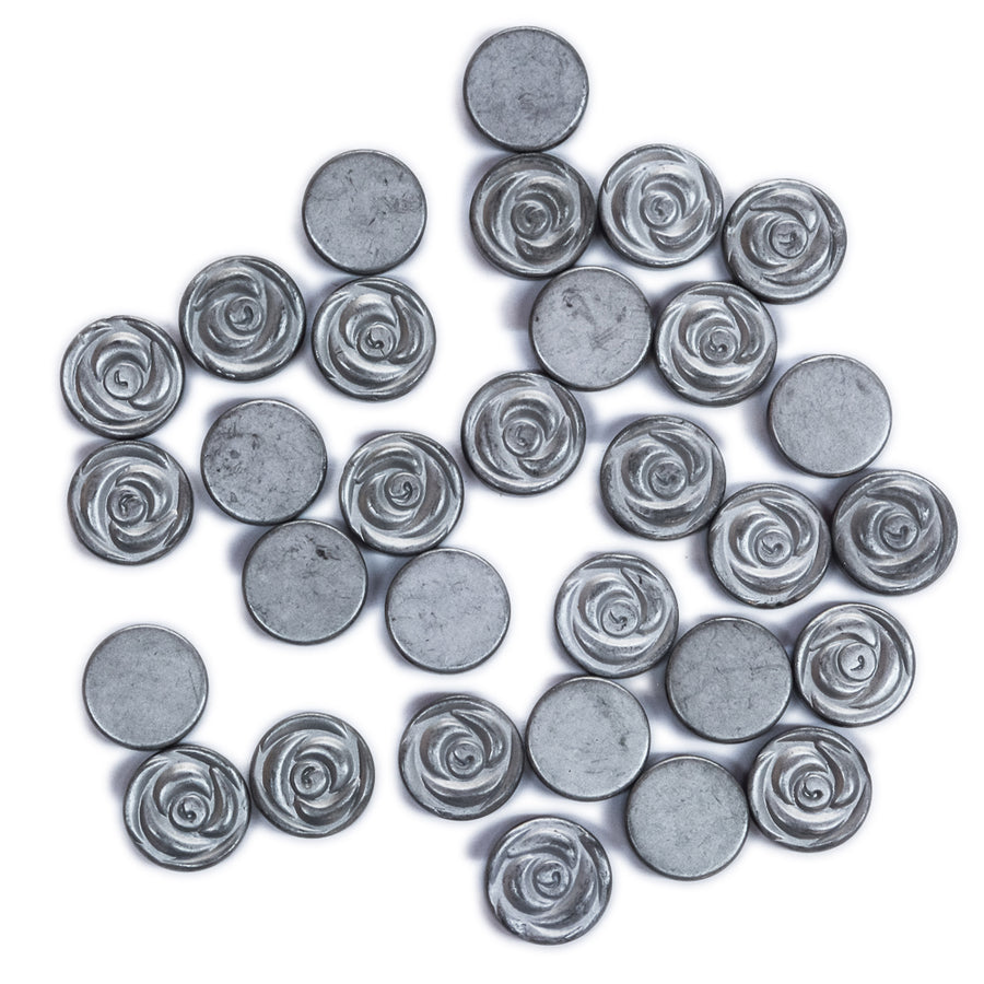 Art Deco Rose Metal Beads - Silver